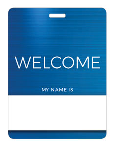 General Blue Welcome Name Badges