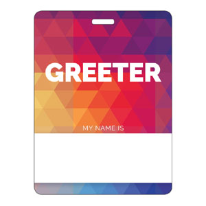 Geometric Bold Greeter Name Badges