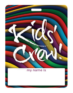 Kid's Crew Multicolor Swirl Name Badges
