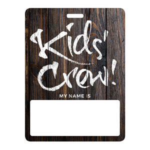 Dark Wood Kids Crew Name Badges