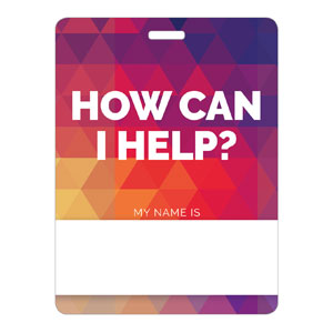 Geometric Bold How Can I Help Name Badges