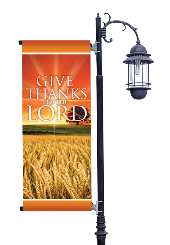 Banners, Fall - General, Give Thanks Lord Light Pole Banner, 2' x 5'