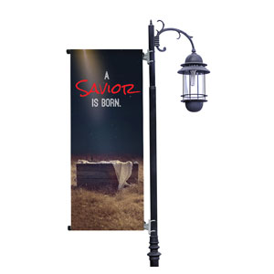 Savior Born Light Pole Banners