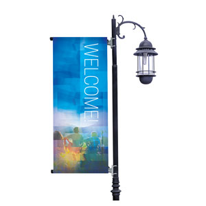 Modern Mosaic Welcome Light Pole Banners