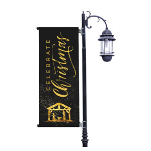 Black and Gold Nativity Light Pole Banners