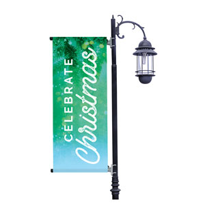 Celebrate Christmas Green Light Pole Banners