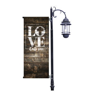 Love Starts Here Wood Banners