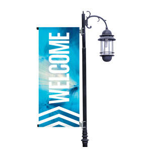Chevron Welcome Blue Light Pole Banners