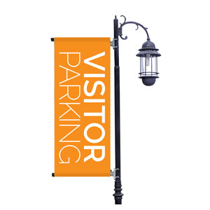 Visitor Parking Orange Light Pole Banners