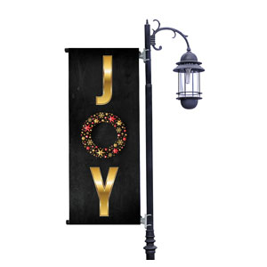 Gold Joy Wreath Light Pole Banners