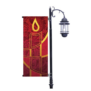 Christmas Candle Red Light Pole Banners