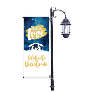 Painted Nativity Light Pole Banners