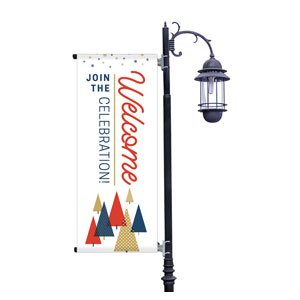 Stamped Christmas Light Pole Banners