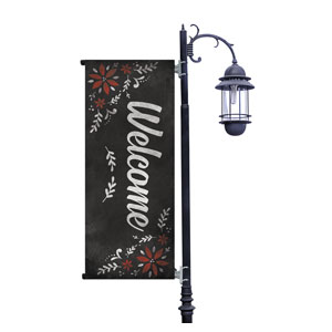 White Chalk Christmas Light Pole Banners