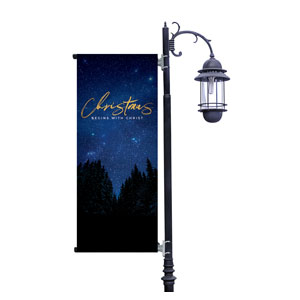 Night Sky Gold Script Christmas Light Pole Banners