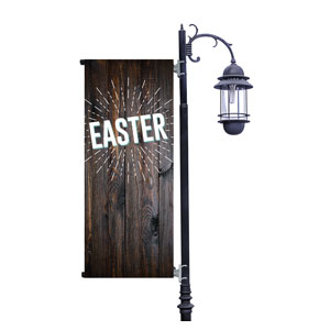 Dark Wood Easter At Light Pole Banners