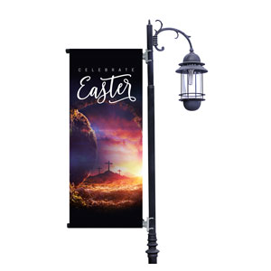 Dramatic Tomb Easter Light Pole Banners