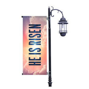 He Is Risen Bold Light Pole Banners
