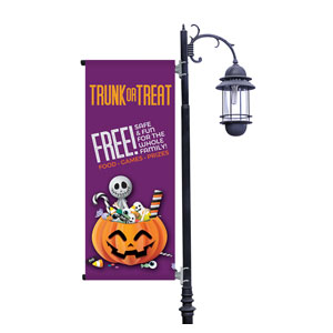 Purple Trunk or Treat Light Pole Banners