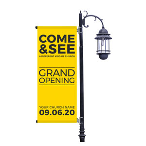 Yellow Grand Opening Light Pole Banners