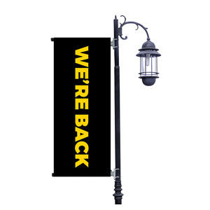 Black We're Back Light Pole Banners