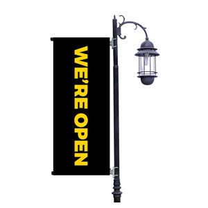 Jet Black We're Open Light Pole Banners