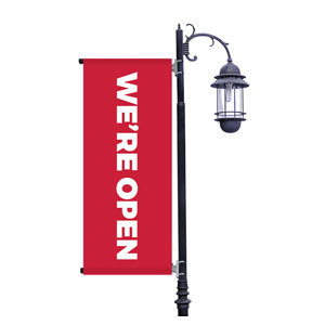 Red We're Open Light Pole Banners