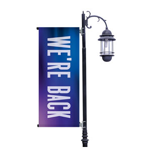 Aurora Lights We're Back Light Pole Banners