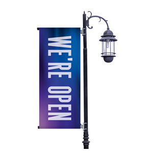 Aurora Lights We're Open Light Pole Banners