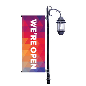 Geometric Bold We're Open Light Pole Banners