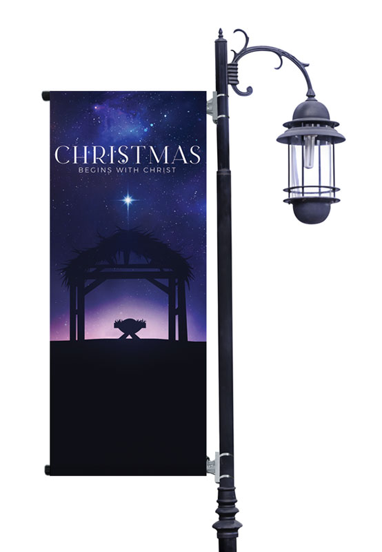 Banners, Christmas, Begins With Christ Manger, 2' x 5'