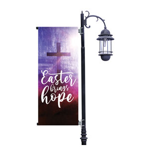 Easter Brings Hope Cross Light Pole Banners