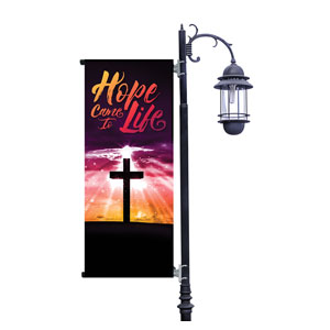 Hope Life Cross Light Pole Banners