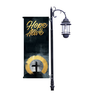 Hope Is Alive Gold Light Pole Banners