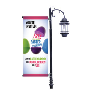 Egg Hunt Plastic Eggs Light Pole Banners