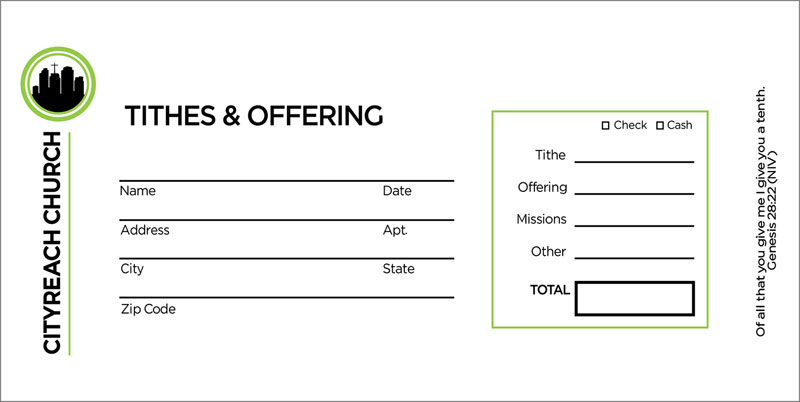 CityReach Offering Envelope - Church Bulletins - Outreach ...