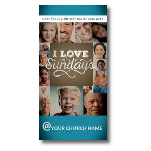 "I Love Sundays XLarge Postcard 11"" x 5.5"" Oversized Postcards"