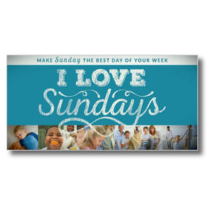 "I Love Sundays Blue XLarge Postcard 11"" x 5.5"" Oversized Postcards"