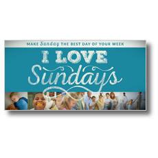 I Love Sundays Blue XLarge Postcard