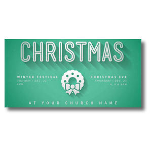 "Green and White Christmas 11"" x 5.5"" Oversized Postcards"