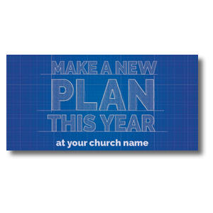 Blue Print Plan Church Postcards