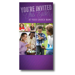 Invited This Easter Purple XLarge Postcards