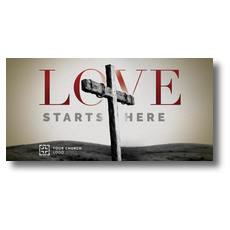 Love Starts Here XLarge Postcard