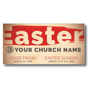 Easter At Red Brushstroke XLarge Postcards