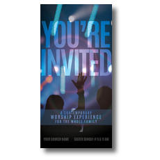 You're Invited Worship XLarge Postcard