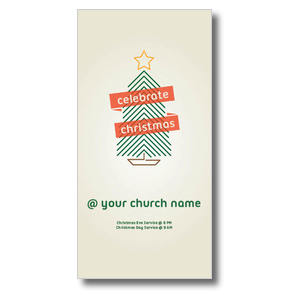 Christmas Tree Line Art XLarge Postcards