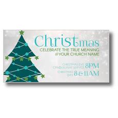 Teal Tree Christmas XLarge Postcard