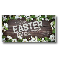 Easter At Flower Border XLarge Postcard