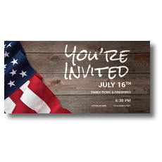 American Flag Invited XLarge Postcard