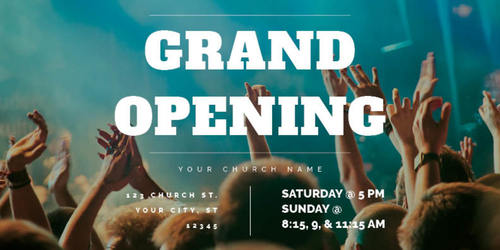 grand opening crowd postcard church postcards outreach marketing